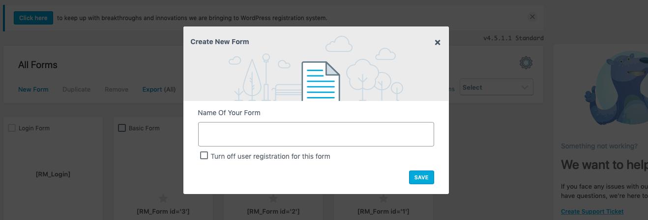 New WordPress Form