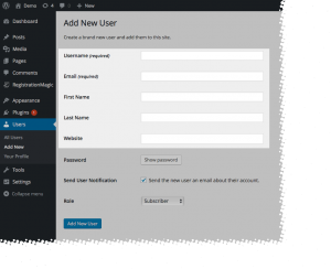 WordPress User Registration Stats Default Profile Fields