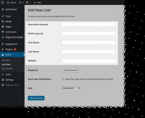 WordPress User Registration Stats Default Profile Fields