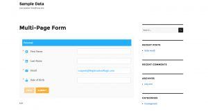 Multipage registration forms styled-page