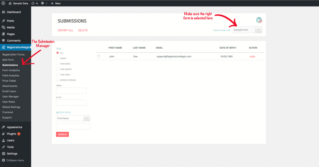 Export WordPress Registration Forms Data - 2