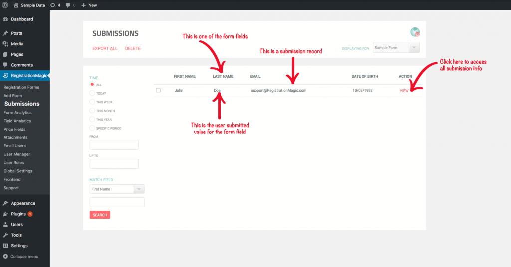 Export WordPress Registration Forms Data - 3