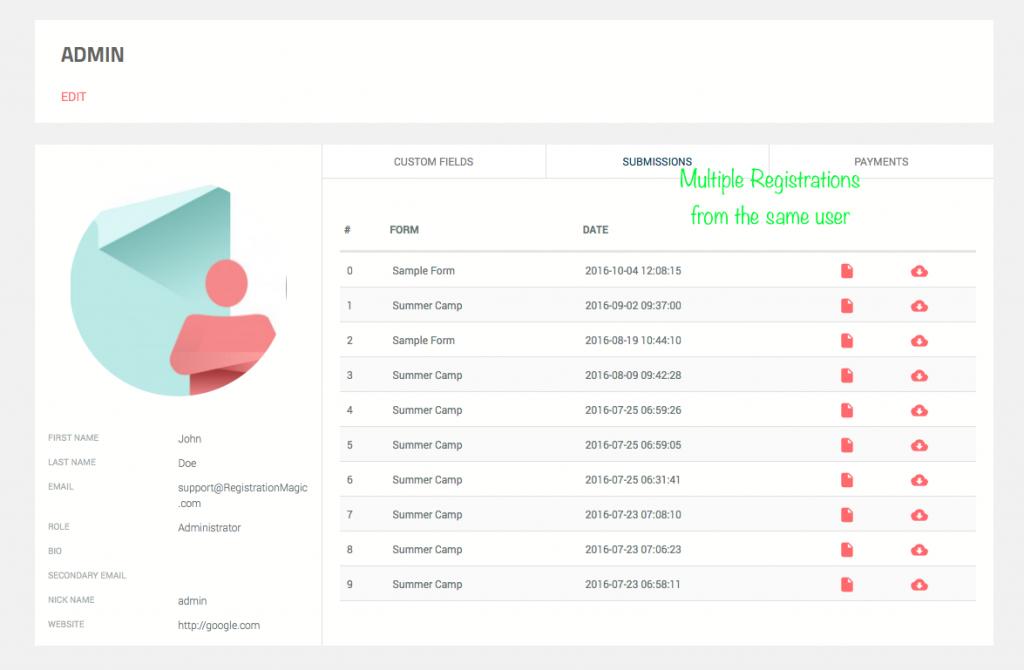 User registration multiple times - 2
