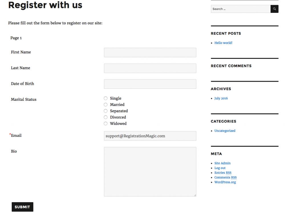 Registration form required fields - 0