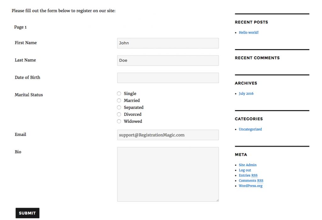 Registration form required fields - 10