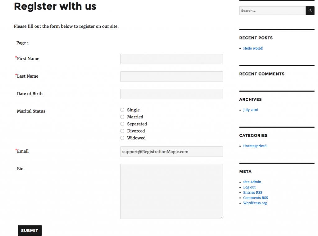 Registration form required fields - 4
