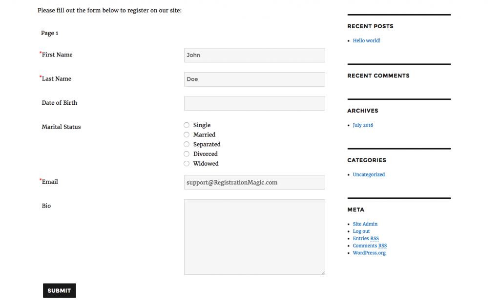 Registration form required fields - 7