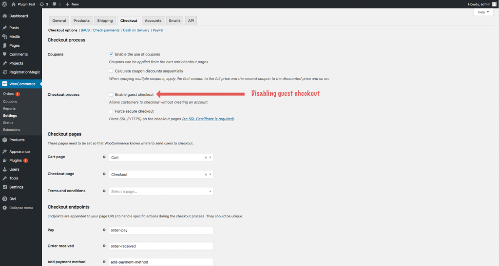 How to disable WooCommerce Guest Checkout