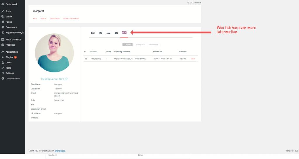 WooCommerce user information