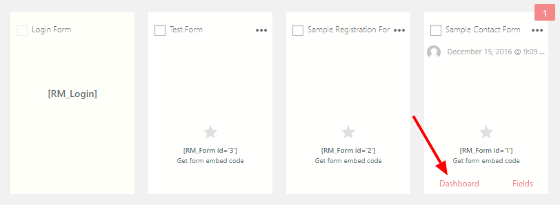 Intelligent Contact Form Card Dashboard Link