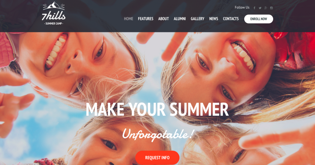 7 Hills Summer camp themes for wordpress