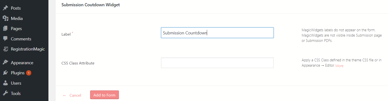 Submission Countdown in WordPress form countdown widget