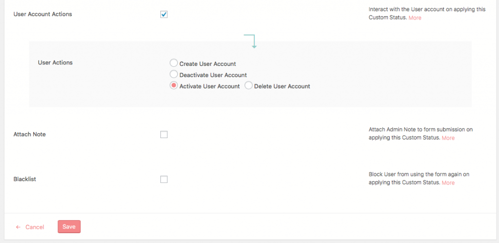 User Submission Custom Status User Account Actions