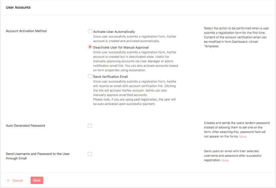 User Submission Custom Status User Activation