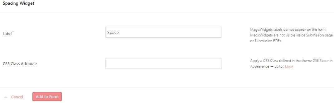 space between WordPress form fields spacing widget