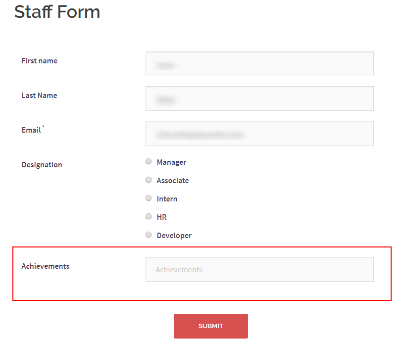 text field in WordPress staff form
