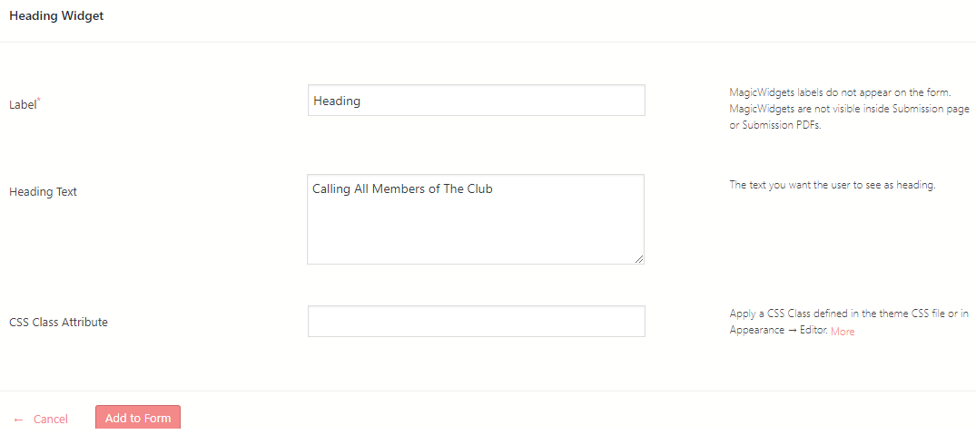 heading to WordPress form widget features