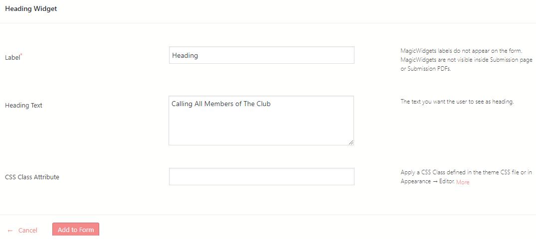 heading to WordPress form widget features