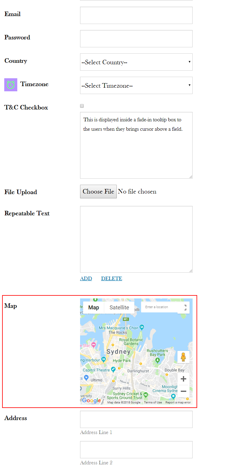 Add google maps in wordpress form frontend