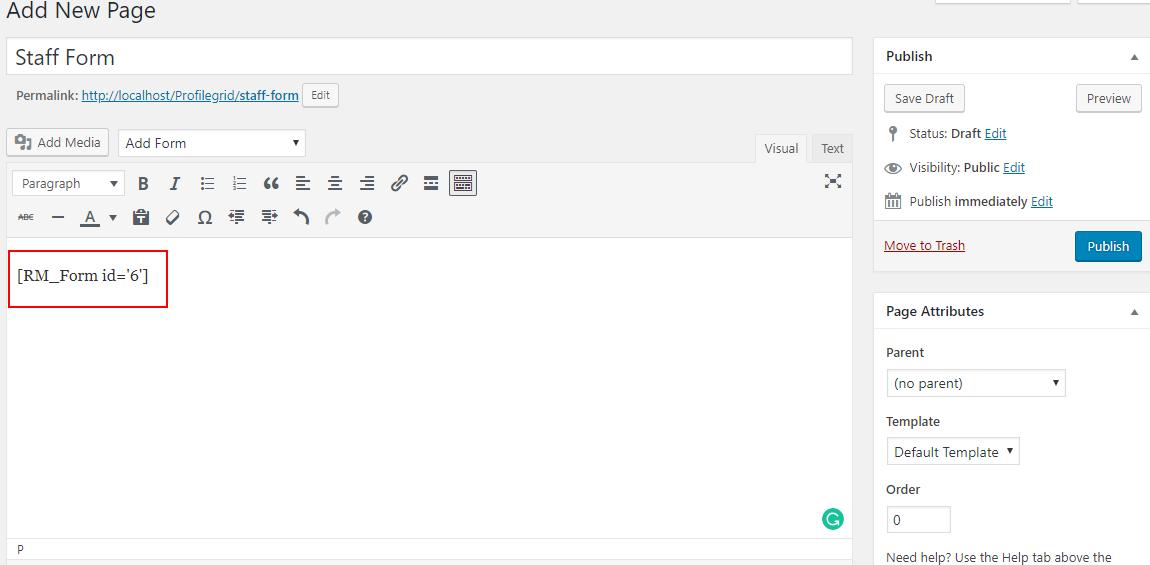 Add Metadata to WordPress Form publish form