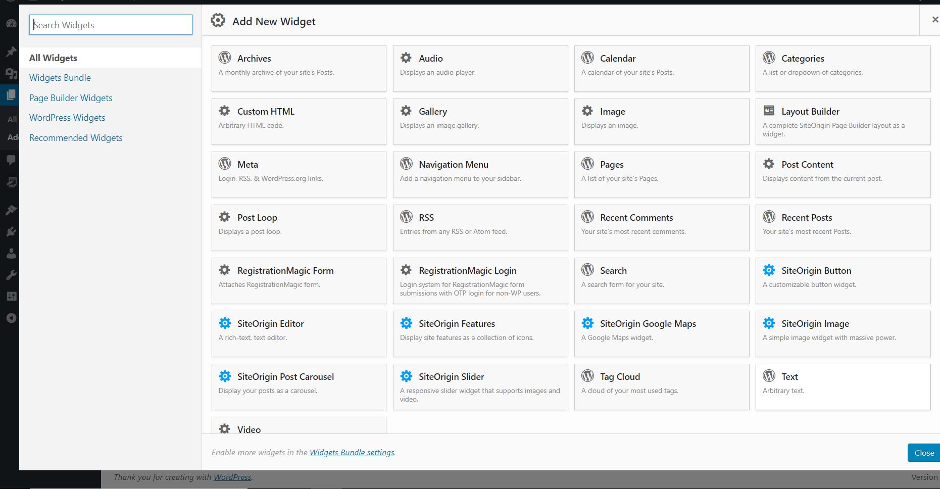 WordPress Page Builder add new widget page