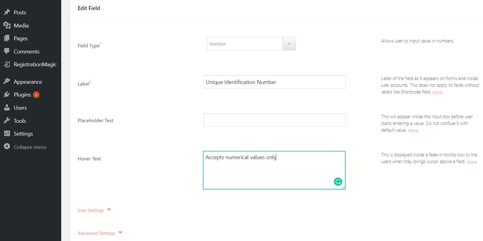 WordPress form number field edit fields