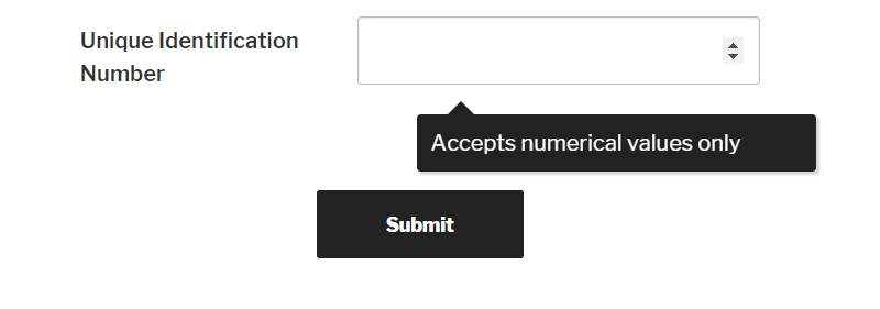 WordPress form number field frontend