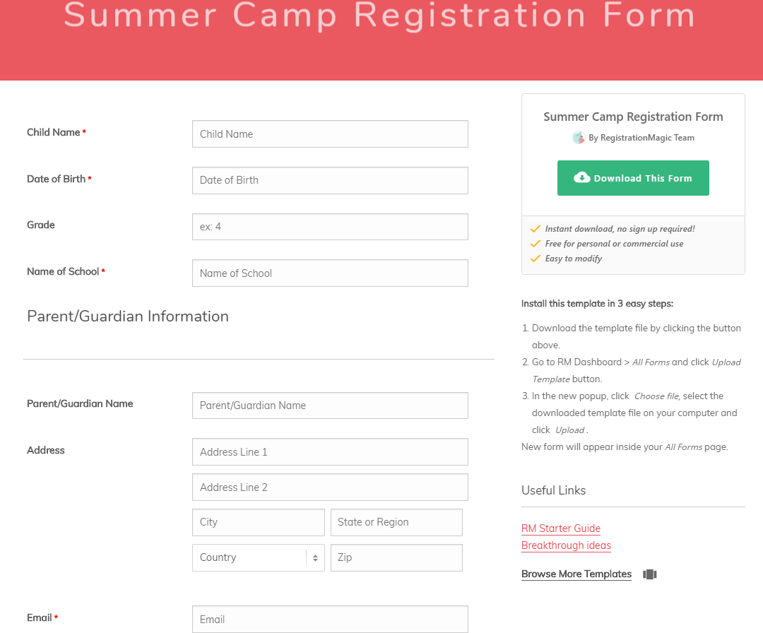 Summer Camp Registration forms template