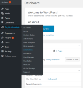 Automation Based On WordPress Form Submission Time dashboard