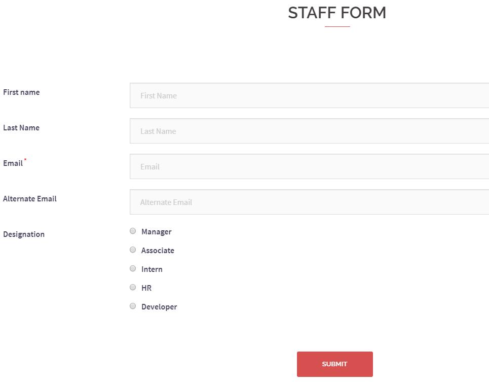 WordPress Page Builder staff form