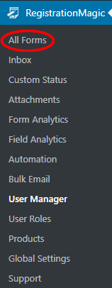WordPress User Accounts: All Forms Navigation