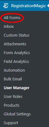 navigation default wordpress registration form