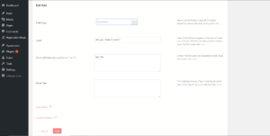 Add conditions to fields in WordPress form manager