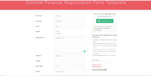 WordPress Registration Page Template registration form