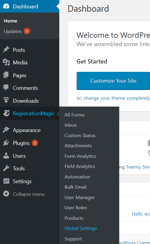 Disable New User Notification Emails navigation