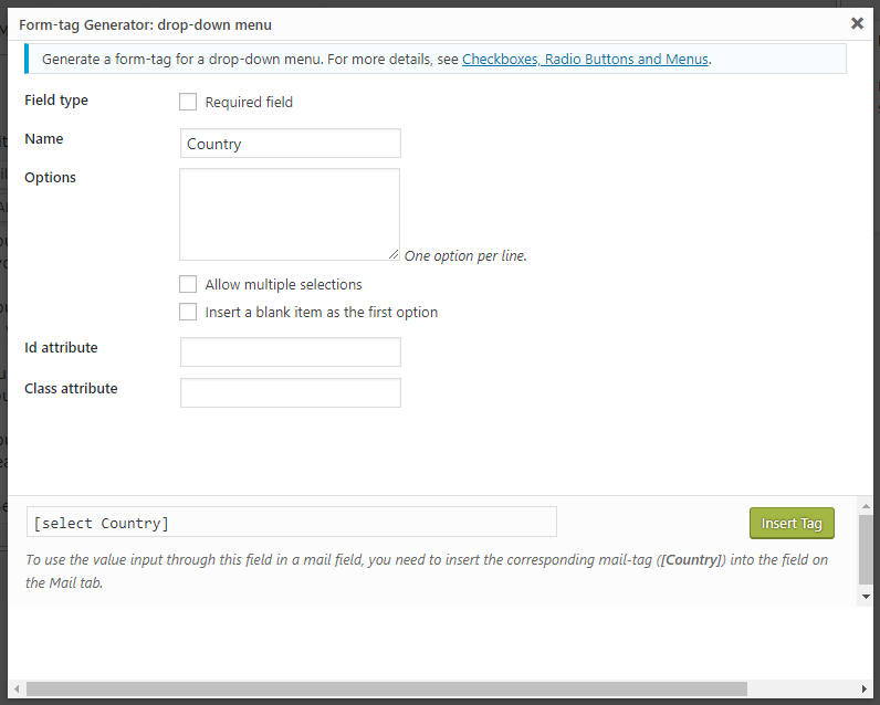WordPress Contact Form CF7 Drop-down Field