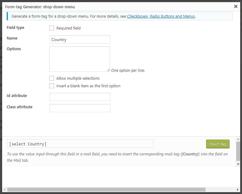 WordPress Contact Form CF7 Drop-down Field