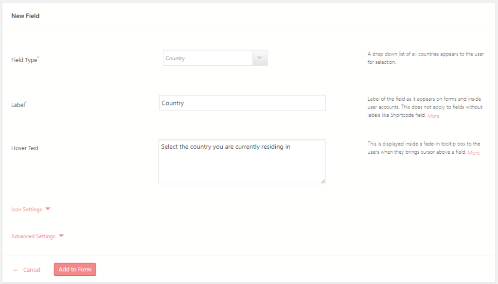 WordPress Contact Form Country Field