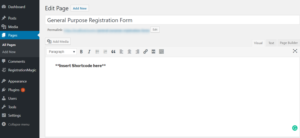 WordPress Registration Page Template new page publish