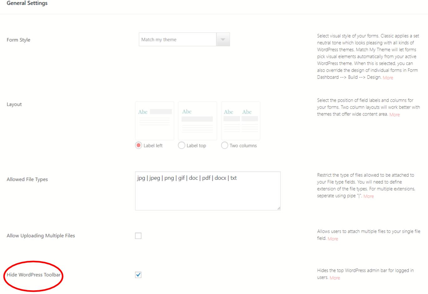 Disable WordPress Admin Bar general settings
