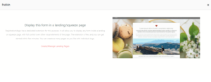Publish Registration Forms and Display Registered Users landing page view