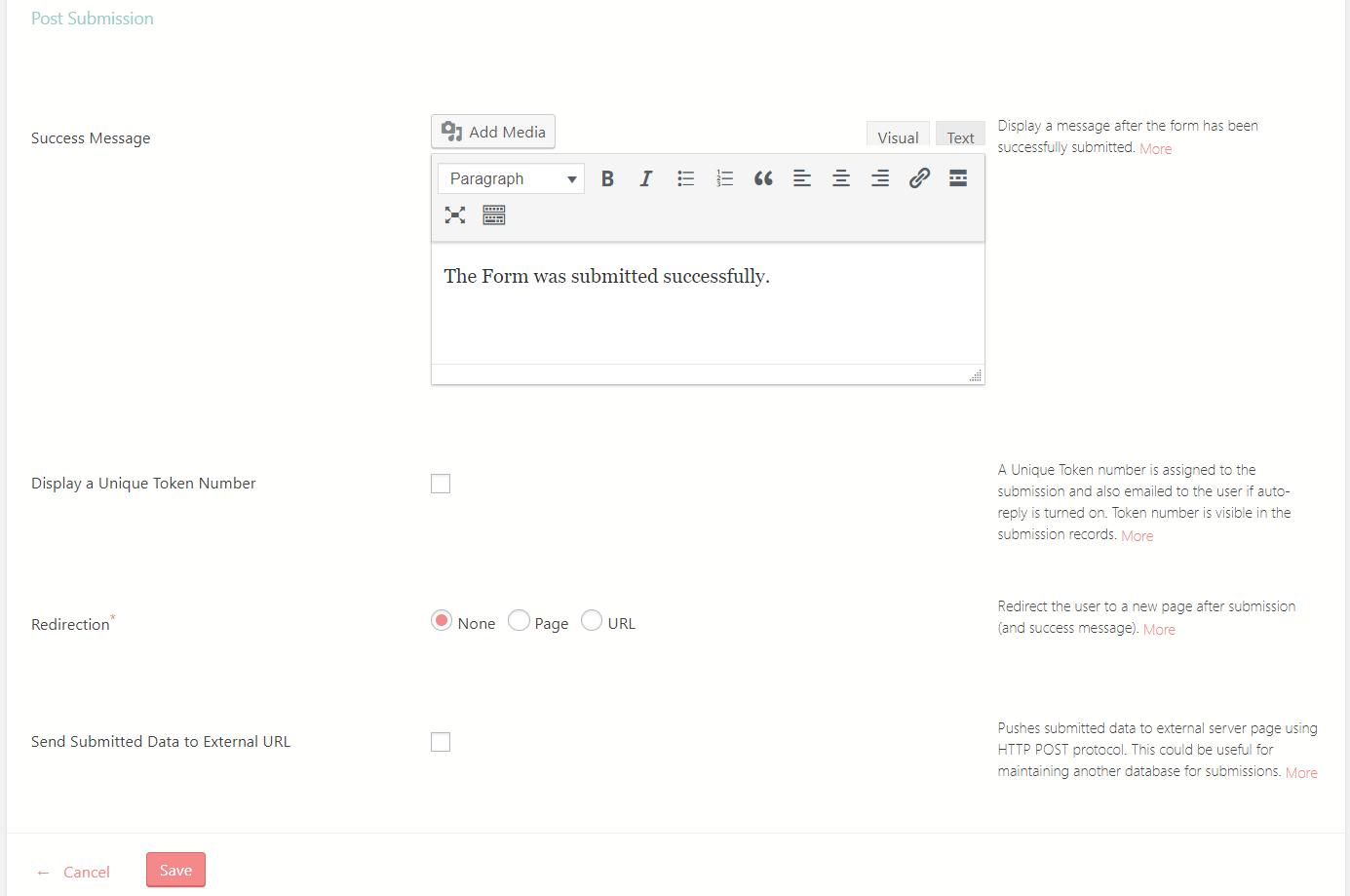 Display Success Message in WordPress configure message