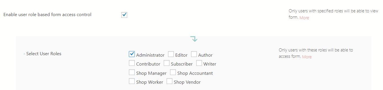 Restrict WordPress Forms enable roles