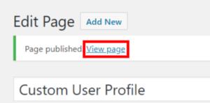 custom user area page edit page