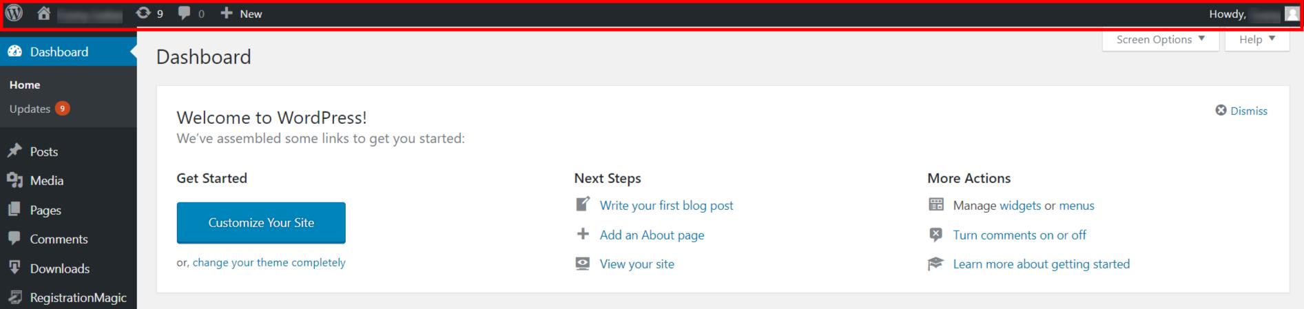 Disable WordPress Admin Bar dashboard