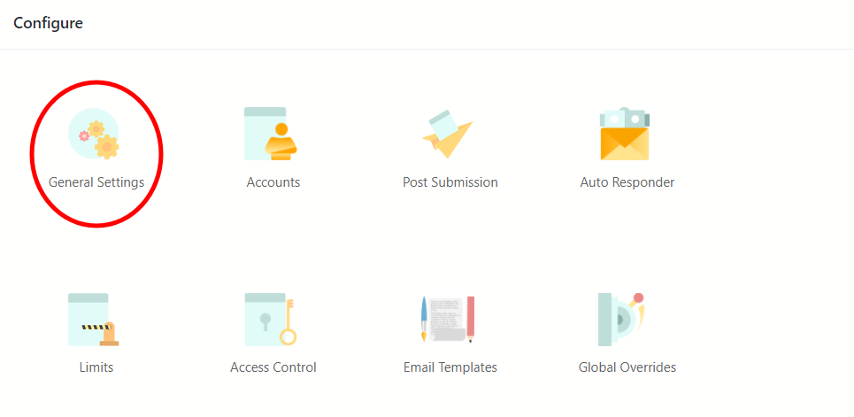 form in WordPress global settings