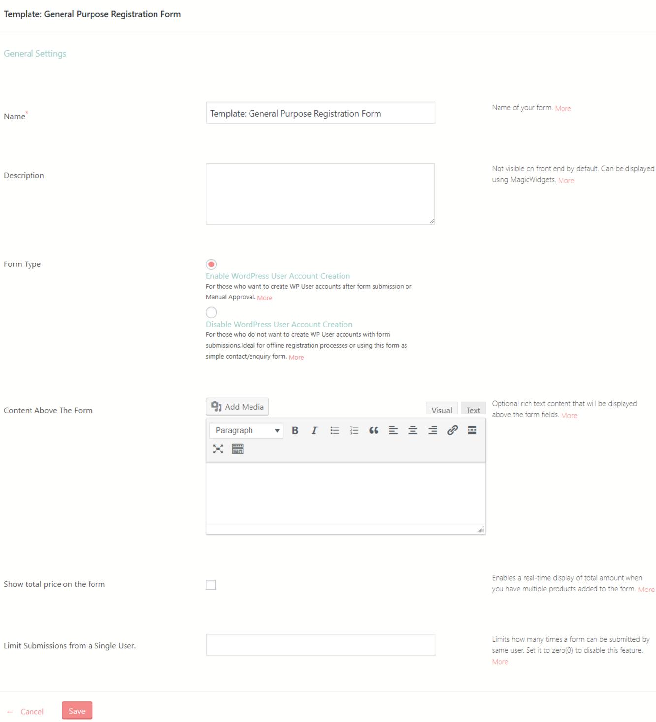 form in WordPress template