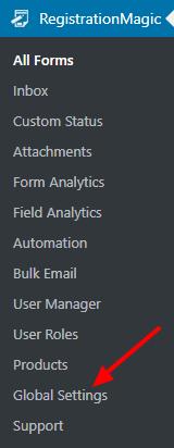 Global Settings menu default wordpress registration form