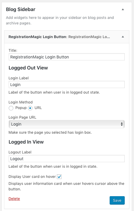 RegistrationMagic WordPress Login Button Widget