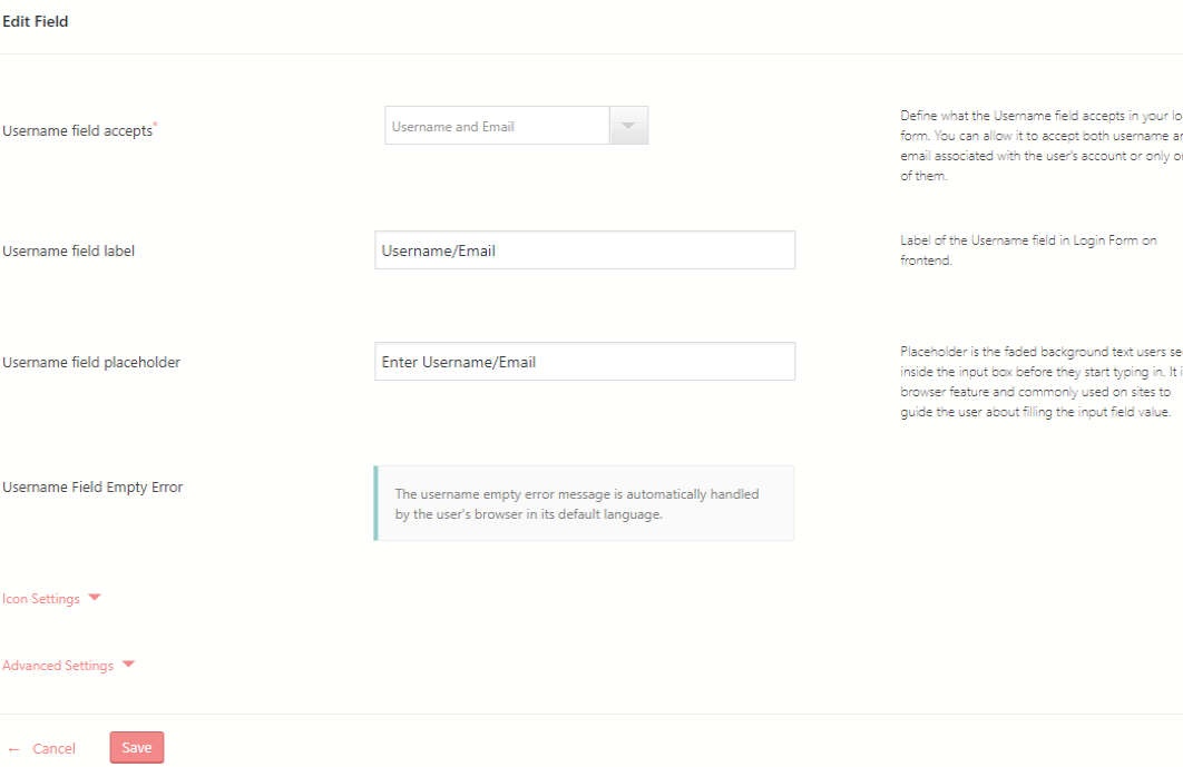 WordPress Login and Registration edit fields